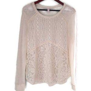 Xhilaration Sheer Cream Color Sweater Sz XXL